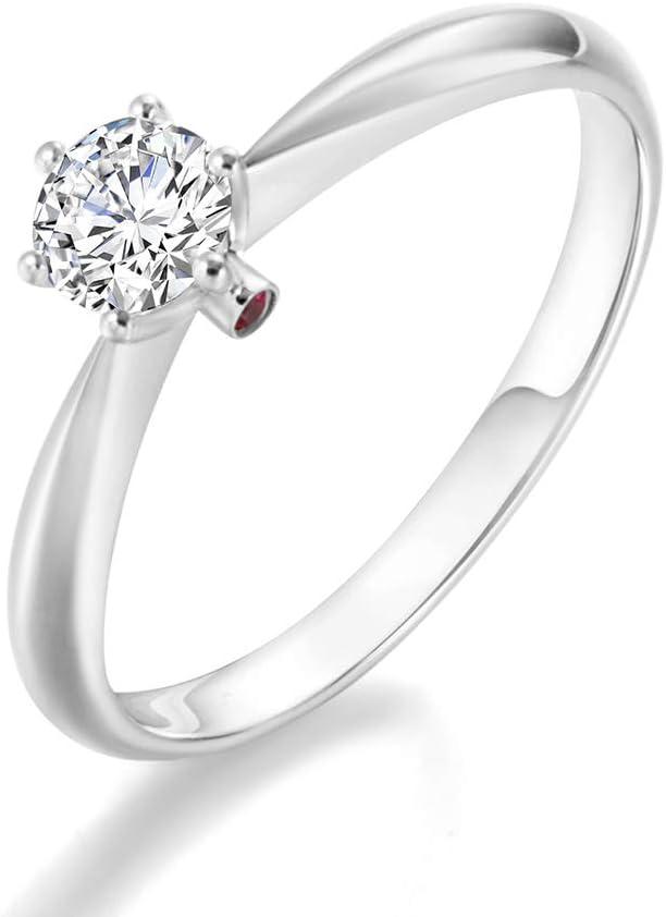 Gems.RDX Anillo de Diamantes Oro Blanco de 18 Quilates 6 Garras incrustación Corte Redondo Solitario Diamante Promesa Compromiso Anillo (0.3 Quilates I-J Color SI claridad)