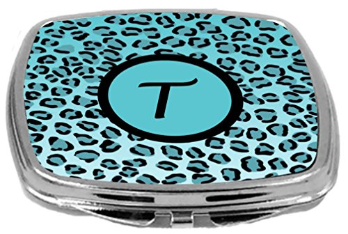 - Rikki Knight Compact Mirror, Letter t Initial Sky Blue Leopard Print