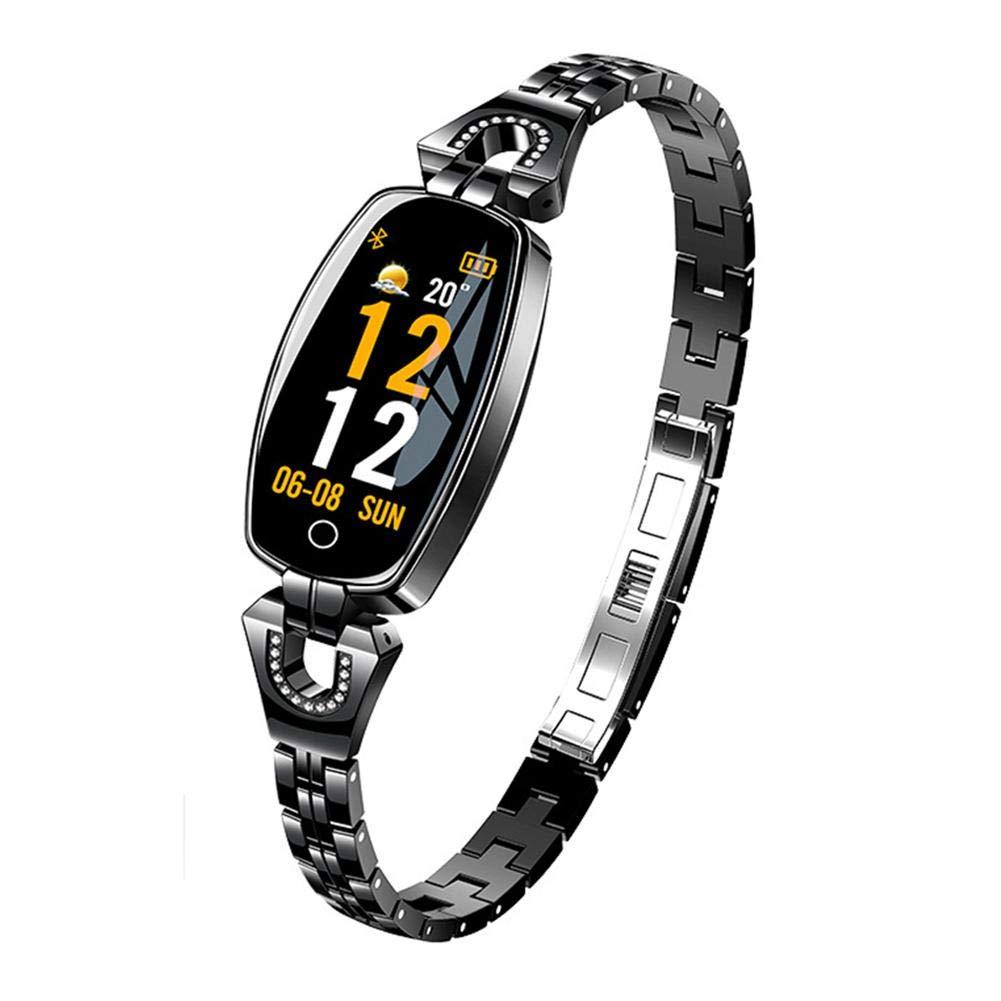 DLMZY H8 Smart Armband Exquisite Legierung Armband mit HD-Farbbildschirm Wasserdichte Herzfrequenz-Blutdrucküberwachung für Frauen