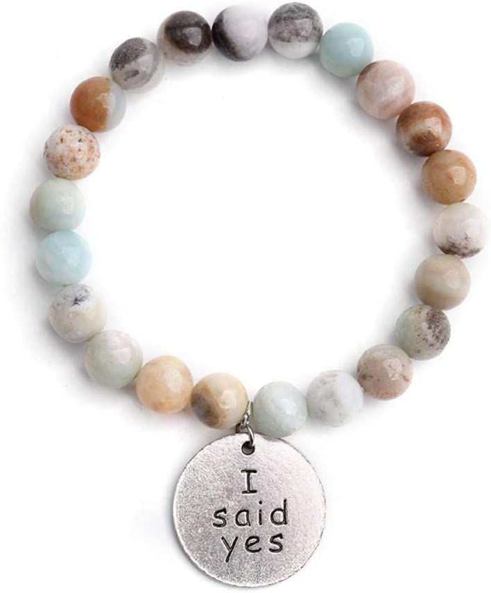 DMUEZW Pulsera de Piedra Natural para Las Mujeres Tubo de la Hoja de Oro Circón cúbico Mal de Ojo de Plata Medalla Cruzada Charm Bracelet