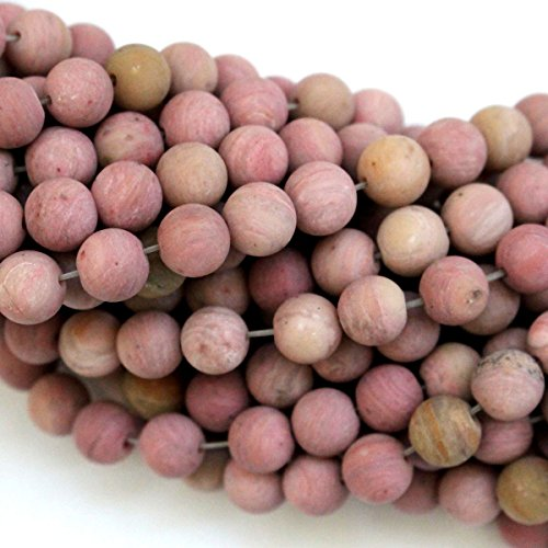 Pink Natural Wood - Natural Color Unpolished Pink Wood Jasper Round Real Gemstones Loose Beads for Jewerly Making (8mm)