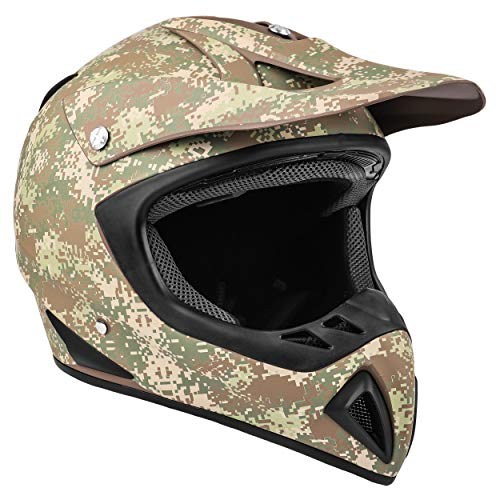 Typhoon Camo ATV Helmet Off Road ORV Motocross DOT Motorcycle Matte Finish Digi Camouflage Youth XL (Small)