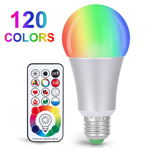 - Sunnest 120 Colors LED Light Bulb, Dimmable E26 LED Light Bulb, 10W RGBW Color Changing Light Bulb with Remote Control, Decorative Lights, Mood Light Bulb, Great for Home Decor, Stage, Party and More