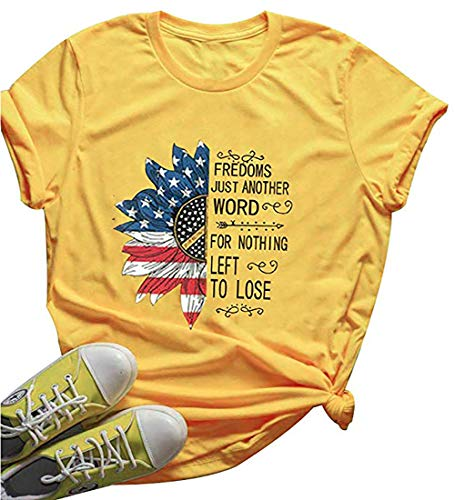 Freedom Womens Dark T-shirt - NENDFY Sunflower Freedom's Just Another Word Cute Tees Letter Graphic T Shirt Women's American Flag Star Stripe Shirt Tops (Large, Yellow)