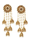 Bindhani Indian Jewelry Wedding Long Chain Bollywood Bahubali Jhumka Jhumki Earrings For Women