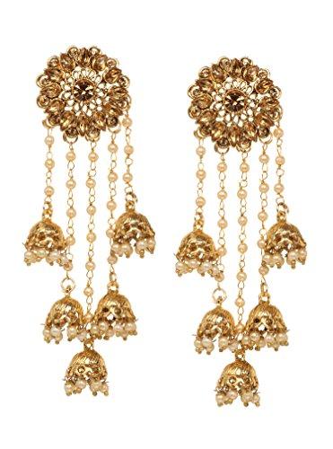Bindhani Fashion Bollywood Jewellery Traditional Ethnic Bridal Bride Wedding Bridesmaid Gold Plated Kundan Long Faux Pearl Drop Jhumka Jhumki Indian Bahubali Earrings Jewelry For Women ()