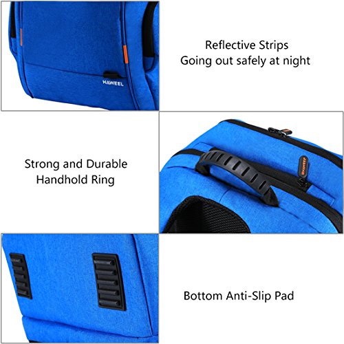 HAWEEL Outdoor Multi-function Solar Panel Power Breathable Casual Backpack Laptop Bag School Bookbag for College Travel Backpack, With USB Charging Port & Earphone Port (Blue) by HAWEEL (Image #6)