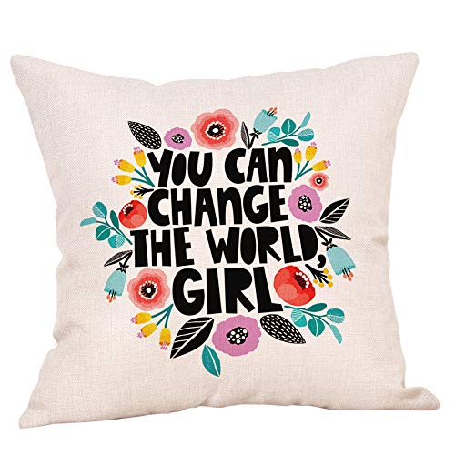 "Ogiselestyle You can Change The World Girl Motivational Sign Cotton Linen Home Decorative Throw Pillow Case Cushion Cover for Sofa Couch, 18"" x 18"""