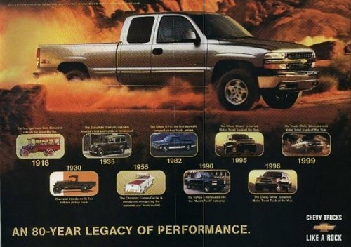 (1999 CHEVROLET SILVERADO *1999 TRUCK OF THE YEAR* COLOR BROCHURE with FIRST 1949 MOTOR TREND ISSUE REPRINT - USA - EXCELLENT ORIGINAL !!)