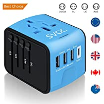Universal International Travel Power Adapter,SVOC All in One Wall Charger with High Speed 2.4A 3 USB Port and Type-C, European Adapter for UK, EU, AU, Asia Covers 200+Countries (Blue)