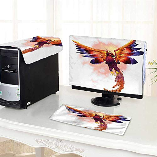 Auraisehome Computer Keyboard Dust Cover 3 Pieces The Phoenix Firebird with Large Wings Illustration Mythical Symbol Print Orange and Blue dust Cover Computer case -