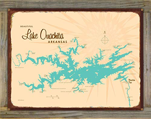 Lake Ouachita Arkansas Vintage-Style Map Rustic Metal Print on Reclaimed Barn Wood by Lakebound (18