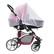 Baby Stroller Mosquito Bug Net Insect Netting Cover 59  Large Size For Pram, Buggy, Infant Carriers, Car Seats, Cradles, Cribs, Bassinets, Playpens, Baby Stroller Bed Full Mesh Cover (White)