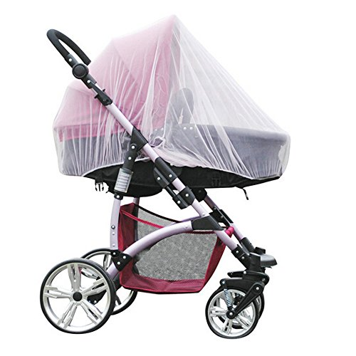 "Baby Stroller Mosquito Bug Net Insect Netting Cover 59"" Large Size for Pram, Buggy, Infant Carriers, Car Seats, Cradles, Cribs, Bassinets, Playpens, Baby Stroller Bed Full Mesh Cover (White)"