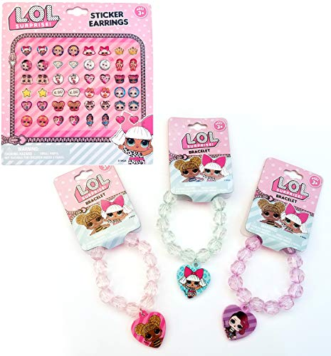 Doll Face Necklace - Gift Pink LOL Dolls Set: 3 Beaded Bracelets & Earrings Stickers (24 Pairs) for Gift Party Favors etc