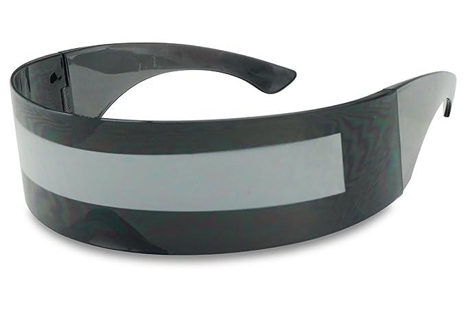fc5331b70c44 SunglassUP One Piece Futuristic Wrap Around Novelty Cyclops Robocop  Sunglasses (Black Frame