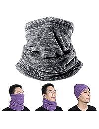 Long Neck Warmer Face Mask Fleece Neck Gaiter Cold Weather Winter Ski Running (Charcoal-gray)