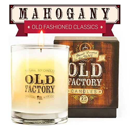 Scented Candles - Mahogany - Decorative Aromatherapy - 11-Ounce Soy Candle - from Old Factory (Holland Candles)