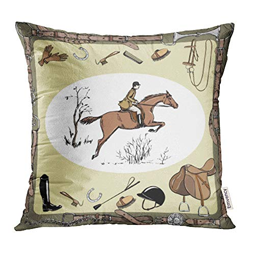 Emvency Decorative Throw Pillow Case Cushion Cover Equestrian Sport with Horse Rider England Steeplechase Derby in Belt with Bit Saddle 16x16 inch Cases Square Pillowcases Covers Two Sides Print