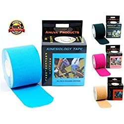Kinesiology Tape - Downloadable Kinesiology Taping Instructions (Finger Print tape) Professional Quality - 2 in. x 16.4 ft Uncut Rolls - Water Resistant Tape - Sport Tape - Kinesio Tape - Blue