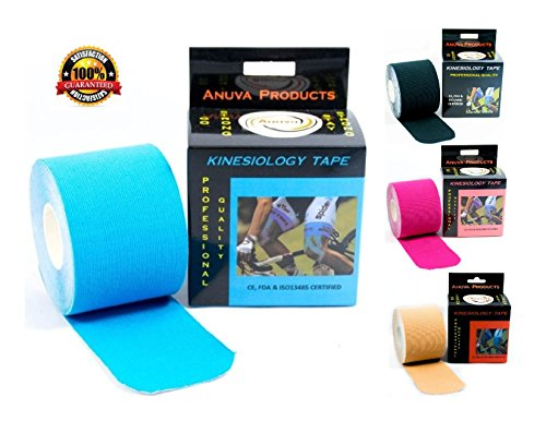UPC 706970384767, Kinesiology Tape - Downloadable Kinesiology Taping Instructions (Finger Print tape) Professional Quality - 2 in. x 16.4 ft Uncut Rolls - Water Resistant Tape - Sport Tape - Kinesio Tape - Blue