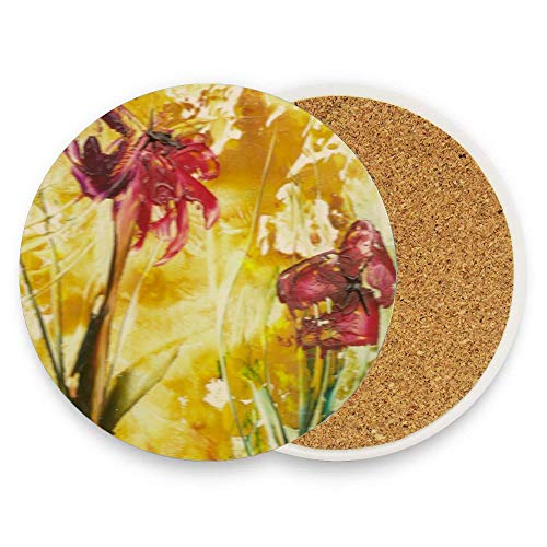 - GTdgstdsc Encaustic Poppies Drinks Absorbent Coaster Ceramic Stone Coffee Mat With Cork Back Mugs and Cups Mat Pack Of 1