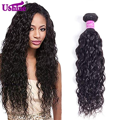 Ushine Wet and Wavy Weave Unprocessed Brazilian Bundles Virgin Human Hair 1 Bundle 20 Inch Water Wave Human Hair Natural Color Can Be Dyed (20