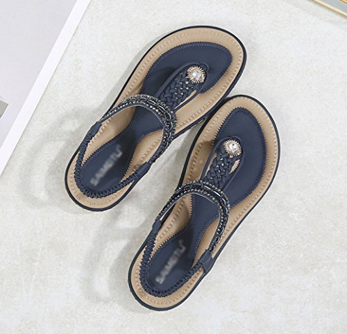 Fondo Moda Estivi Sandali Intrecciato Blue Piatto Boemia Casual Con Della Di I4qBwF
