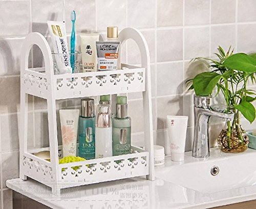 Mandydov European-style Double-layer Desktop Storage Rack Organizer Cosmetic Stationery Storage Holder for Kitchen Bathroom Office