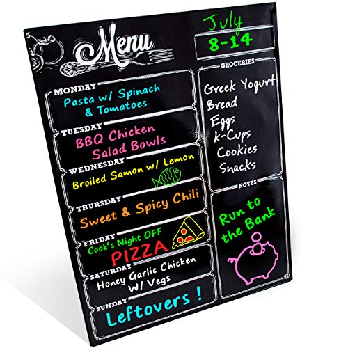 Weekly Dry Erase Planner Board Calendar Fridge Magnet - 7 Day Magnetic Chalkboard Style Healthy Family & Grocery Coupon Organizer for Fridge - Buy Once & Use Forever! - Great Design