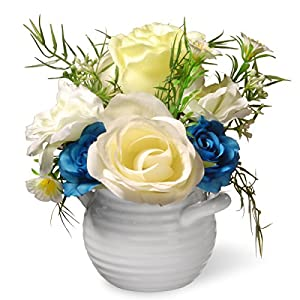 National Tree 7 Inch White and Yellow Rose Flowers with White Round Ceramic Base (NF36-5275-1) 11