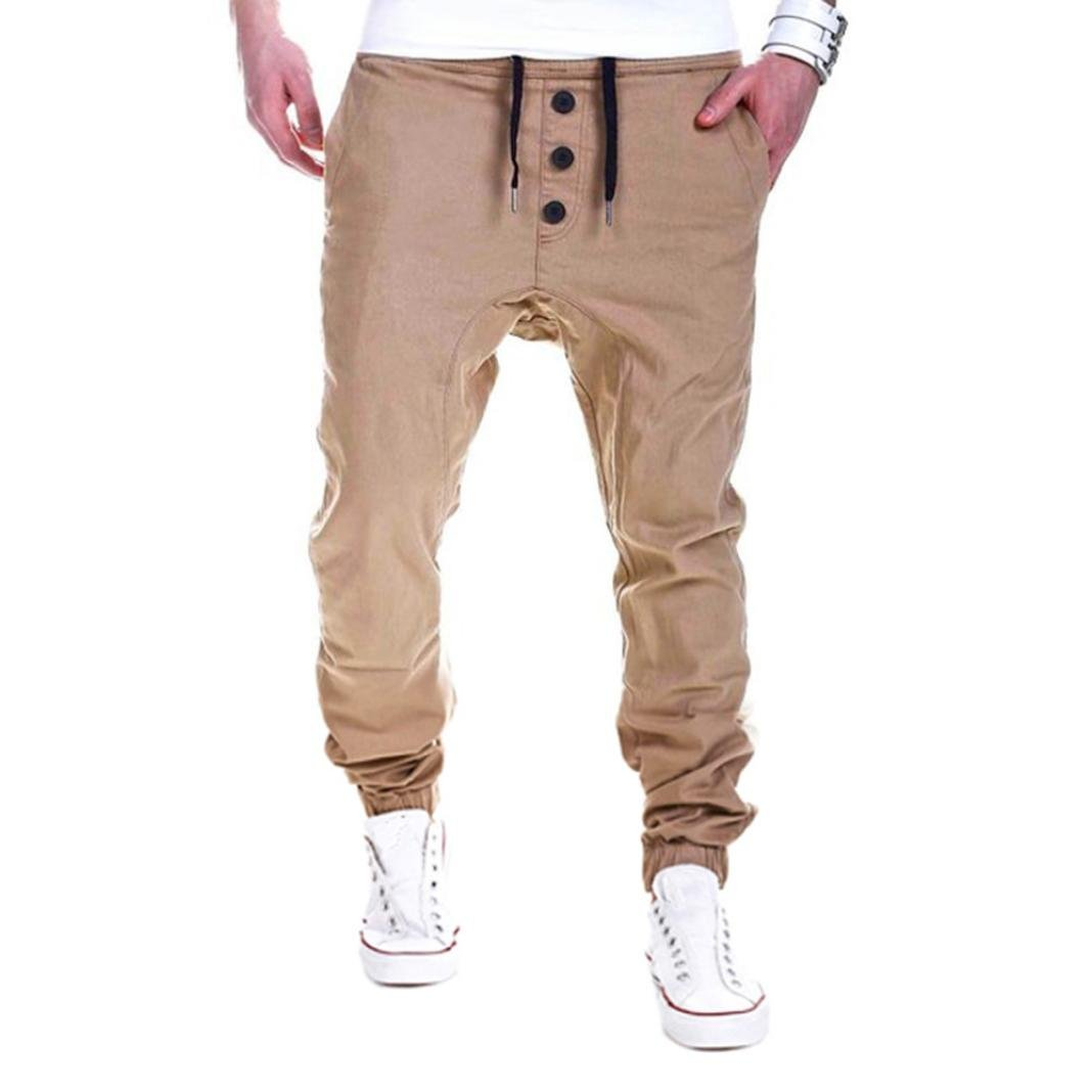Hombre Pantalón Deportivo Jogger,Sonnena ⭐⭐⭐ Estilo Urbano Color sólido Pantalones con Bolsillo Casuales Para Hombre…