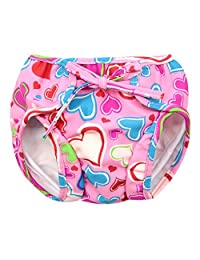 Baby Swim Trunks 0-3 Infants Cartoon Swimsuit Leakproof Swim Shorts, Pink Hearts