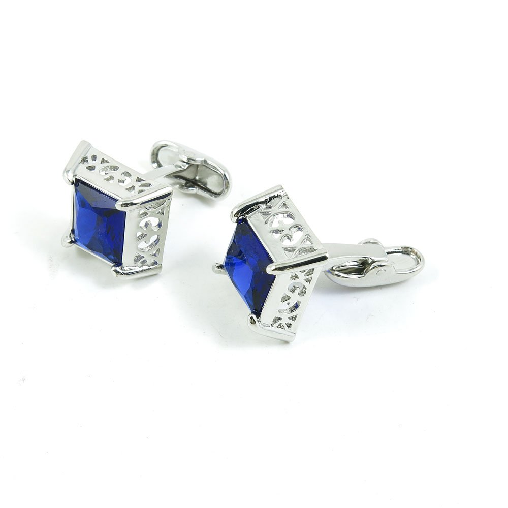 5 Pairs Cufflinks Cuff Links Classic Fashion Jewelry Party Gift Wedding 127658 Blue Crystal Square