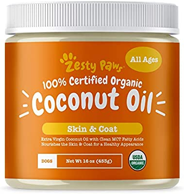 Amazon Com Zesty Paws Coconut Oil For Dogs Certified Organic Extra Virgin Superfood Supplement Anti Itch Hot Spot Treatment For Dry Skin On Elbows Nose