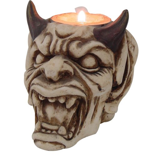 (PTC Pacific Giftware Devil with Horns Hand Painted Resin Candle Holder, Beige)