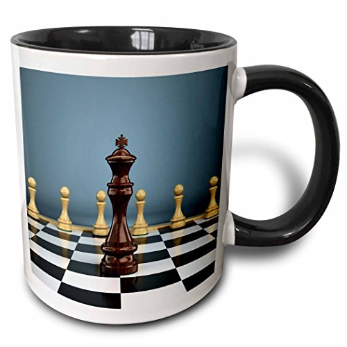 3dRose Chessboard with black king facing white pawns attack win challenge concept chess checker board - Two Tone Black Mug, 11oz (mug_158028_4), 11 oz, Black/White