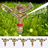 JTW-Lot of 5 Pcs - Double nozzle 1/2'' Garden Lawn Yard Grass Full 360 Rotary Water Irrigation Sprinkler Head for courtyard, lawn, flower, shrub, trees, vegetable field etc - Zinc Alloy