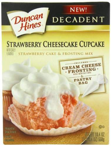Duncan Hines Decadent Cupcake Mix, Strawberry Cheesecake, 19.4 Ounce (Pack of (Fudge Brownie Cheesecake)