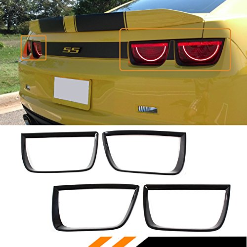 (Cuztom Tuning Fits for 2010-2013 Chevy Camaro Glossy Black Add-on Tail Light Lamp Bezel Trim Cover 4 Pieces )