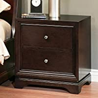 Abbyson Living Vinston 2 Drawer Wood Nightstand in Espresso