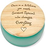 Pavilion Gift Company Heavenly Woods - Once In A Lifetime You Meet Someone Special Who Changes Everything Round Teal Butterfly Keepsake Jewelry Box