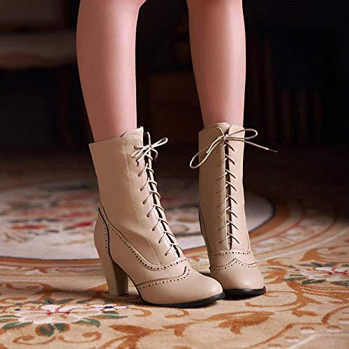 Alto Punta Puntiaguda Invierno Medio Zapatillas Clásico Beige Botas Cordones Casuales Fuxitoggo Martin Mujer Zapatos Tubo De Piel Con Tacón 87xgpqn
