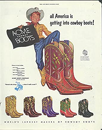 Amazon.com: All America is getting into Acme Cowboy Boots ad 1953 ...