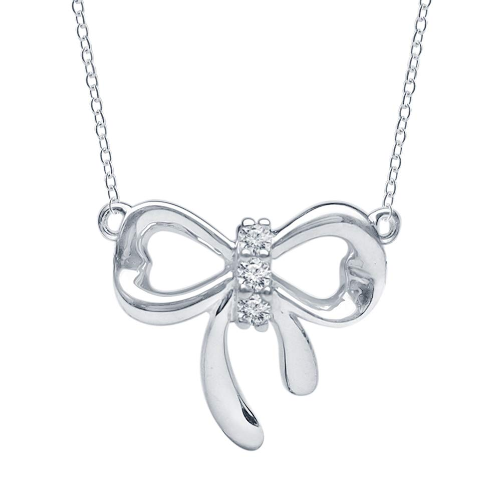 """""""Dahlia Collection""""Sterling Silver 0.04cttw Round-Cut Diamond (H-I Color, I2 Clarity) Fashion Necklace w/an 18'' Cable Chain w/Lobster Lock"""