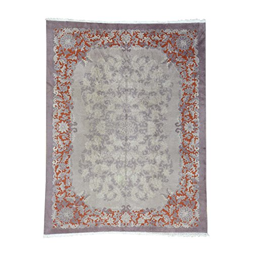Shahbanu Rugs Antique Chinese Art Deco Some Wear Hand-Knotted Oriental Rug (8