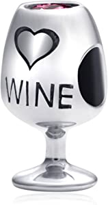 ENJOOOY Sterling Silver Wine Charm Glass Bottle Charm fit Women Bracelets-Gift for Wine Lover