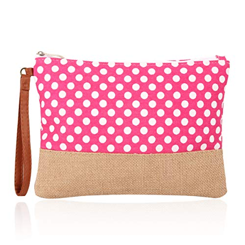 (Fabric Multifunction Portable Travel Organizer Bag - Cosmetic Makeup Pouch/Toiletry Purse/Metallic Zip Clutch/Striped Wristlet (Polka Dot - Hot Pink))