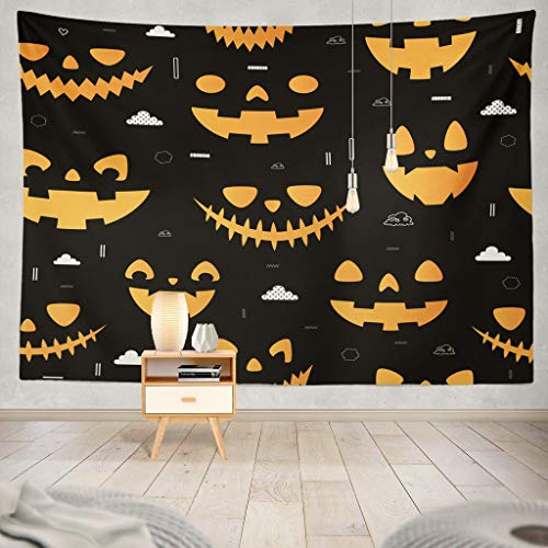 KJONG Halloween Autumn Fall Cute with Pumpkins and Geometric Mask and Can Jack Lantern Animal Autumn Black Cartoon Decorative Tapestry,60X60 Inches Wall Hanging Tapestry for Bedroom Living Room]()