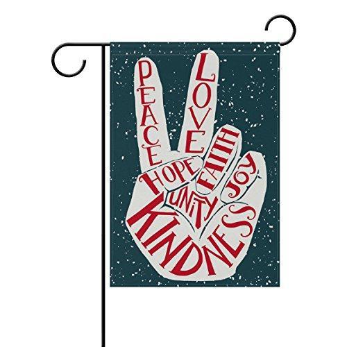 ALAZA Retro Peace Love Joy Polyester Garden Flag House Banne